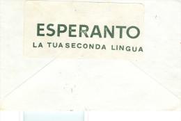 """""""ESPERANTO,LA TUA SECONDA LINGUA"""", ETICHETTA CHIUDI LETTERA, SU BUSTA ESPRESSO VIAGGIATA 1974, - Esperanto"""