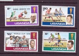 OUGANDA-UGANDA  1979 FOOTBALL SURCHAGE:UGANDA LIBERATED 1978   YVERT N°179A/D  NEUF MNH** - World Cup