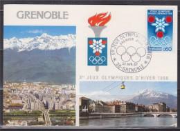 = Timbre Annonce Des Jeux Olympiques D'hiver Carte Postale 1er Jour Grenoble 22.4.67 N°1520 Sigle Et Logo, Vue De Ville - Winter 1968: Grenoble