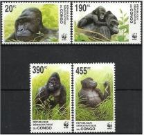 CONGO 2002 WWF Animals Fauna Mammals Gorillas Kinshasa 4v MNH - Gorilles