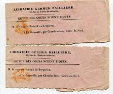 PARIS 2 Bandes De Journaux De 1864 Avec Cachet Imprimés PP - Marcofilie (Brieven)