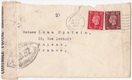 1723# GRANDE BRETAGNE ENGLAND LETTRE CENSURE FRANCAISE BA 32 Obl SUTTON SURREY 1940 Pour AMIENS SOMME - Marcophilie (Lettres)