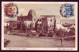 Israel Palestine Haifa Secondary School Postcard 1924 British Mandat EEF Stamps - Publisher: Bendov Jerusalem - Palestine