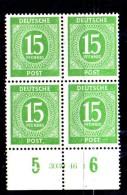 ENR76B  - GERMANIA OCCUPAZIONE 1946 , Quartina Del 15 Pf.  ***  MNH - Zona AAS