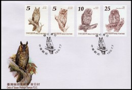 TAIWAN 2011 Rep Of CHINA Owls Birds Nature 1st Issue FDC - 1945-... Republic Of China