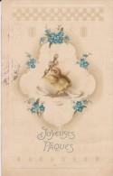 JOYEUSES PÂQUES---poussin + Fleurs---carte Gaufrée--voir 2 Scans - Easter