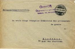 PRISONNIER GUERRE FRANÇAIS - GUERRE 14-18 - 1 WK - LIMBURG VERS BORDEAUX - Guerra 1914-18