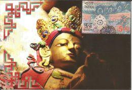 India 2007 Gilt Buddha From Dha Gompa Monastery, 2550 Yrs Of Mahaparinirvana Of The Buddha , Maximum Card, Indien, - Buddhism