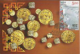 India 2007 Coins Of Buddhist Regimes, Kushan, Kanishka,Buddha , 2550 Yrs Of Mahaparinirvana Of The Buddha , Maximum Card - Buddhism