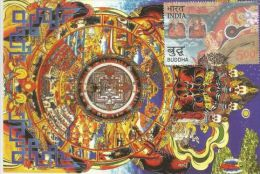 India 2007 Wheel Of Life, Kalachakra Tanka Painting , 2550 Yrs Of Mahaparinirvana Of The Buddha , Maximum Card - Buddhism