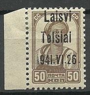 LITAUEN Lithuania 1941 German Occupation Telšiai Michel 6 * - Occupation 1938-45