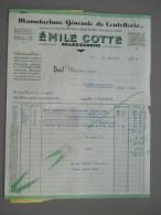 FACTURE - 1945  - COUTELLERIE - EMILE COTTE - CHABRELOCHE - France