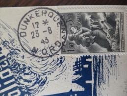 France Premier Jour Carte Maximum 23/8/1943 Alerte à La Solidarité Dunkerque Aviation Rare!! - Maximumkaarten