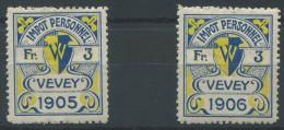 1103 - VEVEY Fiskalmarken - Fiscaux