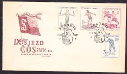 CZECHOSLOVAKIA 1951, FDC COVER. SPORTS - SOKOL ASSOCIATION, SOKOL´S FLAG. Condition, See The Scans - Sobres