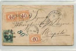 LETTERA DA CALLAO (PERU') A RAPALLO 1877 AFFRANCATA CON 10 CENT. DEL PERU' - TRANSITATA VIA PANAMA - Marcophilia