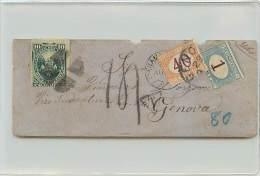 LETTERA DA CALLAO (PERU') A GENOVA 1878 AFFRANCATA CON 10 CENT. DEL PERU' - TRANSITATA VIA PANAMA - Marcofilía