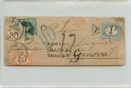 LETTERA DA CALLAO (PERU') A GENOVA 1878 AFFRANCATA CON 10 CENT. DEL PERU' - TRANSITATA A PANAMA - 1878-00 Humbert I.