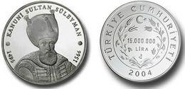 AC - SULEIMAN THE MAGNIFICENT COMMEMORATIVE SILVER COIN TURKEY 2004 UNCIRCULATED PROOF - Turchia