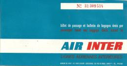 BILLET TICKET AIR INTER AVIATION  PUBLICITE PUB  AIR MARIGNANE ORLY - Billets D'embarquement D'avion