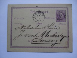 NETHERLANDS INDIES 1881 POSTAL STATIONARY CARD WITH SEMARANG MARK - Indie Olandesi