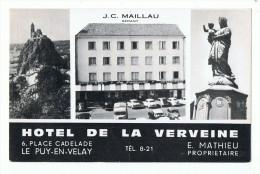 LE PUY EN VELAY -  43 - CPM - HOTEL DE LA VERVEINE - PROPRIETAIRE MATHIEU  , GERANT MAILLAU - CARTE PUBLICITAIRE - Le Puy En Velay