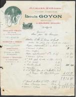 Facture Illustrée Mécanicien Louis GOYON  à Gauriac Gironde (33) - Petits Métiers