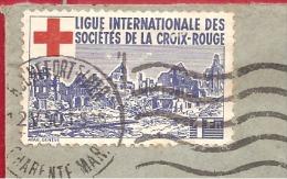 Y &T N°836+681+812+VINETTE CROIX ROUGE ROCHEFORT    Vers  TOULON    2 SCANS   1950 - Erinnophilie