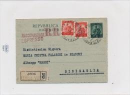 1948  BIGLIETTO POSTALE 10 LIRE DEM PER RACCOMANDATA ESPRESSO DA ROMA CON AFFRANCATURA  COMPLEMENTARE VALORE GEMELLO PER - Interi Postali