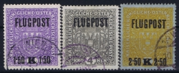 Österreich Mi.-Nr. 225 - 227 Used, 1918 Airmail - Airmail