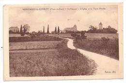 CPSM Montaigu De Quercy Tarn Et Garonne 82 Saint Vincent Eglise Et Vieux Moulin édit Suères Non écrite - Montaigu De Quercy