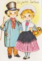 Carte Brodée-les Petits Sarthois-illustrateur Elsi - Ricamate