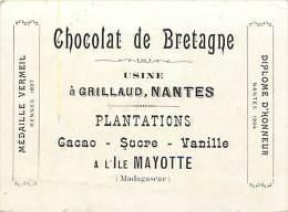 - Loire Atlantique - Ref-B561 - Nantes - Chromo Publicite Chocolat De Bretagne -usine A Grillaud - Plantations Mayotte - - Nantes
