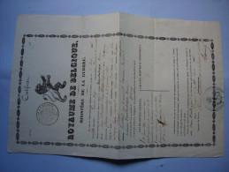 Cetificat Congé 1846 Royaume De Belgique Ministère De La Guerre Van Outryve Henri Né En 1824 - Documenti