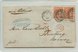 COPPIOLA DEL 4 PENNY - DA LONDRA A TONSBERG (NORVEGIA) - VIA OSTENDA - 1840-1901 (Regina Victoria)