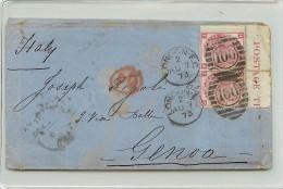COPPIOLA DEL 3 PENNY ANGOLO DI FOGLIO I.D. - DA LONDRA PER GENOVA - 1840-1901 (Regina Victoria)