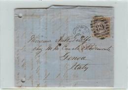 6 PENNY  - DA LONDRA PER GENOVA - SU BUSTA - 1840-1901 (Regina Victoria)