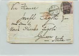 6 PENNY  - DA MANCHESTER A GENOVA - SU BUSTA - 1840-1901 (Regina Victoria)