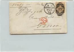 6 PENNY  - DA LONDRA A GENOVA - SU BUSTA - 1840-1901 (Regina Victoria)