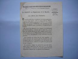 Lettre Du Préfet De Moselle Révolution An 22 De La République Concerne Passeports Pour La Vendée Et Autres... à Metz - Historische Documenten