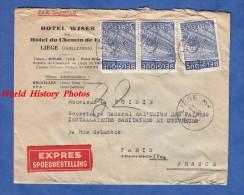 Enveloppe Ancienne - LIEGE - Hôtel WISER Ex Hôtel Du Chemin De Fer - 1948- Etiquette De Bagage Au Verso - Express Timbre - Unclassified