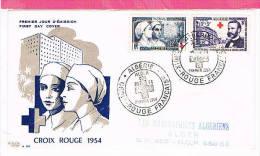 ALGERIE , FDC Enveloppe 1er Jour  : Yt 316 / 317 , Obl Alger Lle 30/10/1954 , Croix Rouge , Dunant - Algérie (1924-1962)