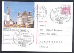 Germany Deutschland 1986 Postal Stationery Card; Fruits Obst Fruit; Apple Äpfel Pommes; Rathaus Kirche Church - Frutas
