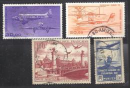 FRANCE --- POSTE AERIENNE --- 100 F. Rouge-brun -- 1 F. 50 Bleu-violet -- 20 F. Orange -- 30 F. Violet - Airmail