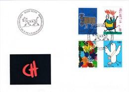 Schweiz MiNr.1593 / 1596 Zeichenwettbewerb Illustrierter Ersttagsbrief / FDC - FDC
