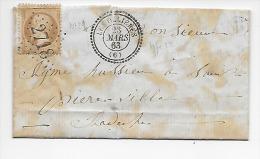 LAC -- Saint-Sauveur De Montaigut ( 07) à Saint-Pierreville ( 07 ) -- Cachet Les Ollières  Type 22 -- 1863 -- Moyen - 1849-1876: Periodo Classico