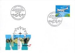 Schweiz MiNr. 1609 50 Jhr. Nordatlantikflüge - Illustr. Ersttagsbrief / FDC - FDC