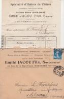 Yvert 140 Semeuse Lettre Entête Facture Jacou Fils Ostréiculteur Huitres MARENNES Charente Maritime 29/1/1921 - 1921-1960: Moderne
