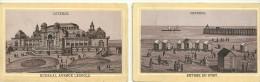 CHROMO Format 6.5 X 10.8 - DEBUT XXe - 2 VUES DE  OSTENDE (BELGIQUE) ENTREE DU PORT, KURSAAL AVENUE LEOPOLD - Kaufmanns- Und Zigarettenbilder