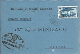 1954 Cartolina Postale Comunale L. 15 Italia Al Lavoro - Uso Singolo Da Sesto Calende (Varese) - 1946-.. République